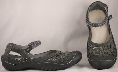 Women's Jbu By Jambu Gray Wildflower Vegan Mary Janes 7 M Lovely Luster Comfort Shoes
