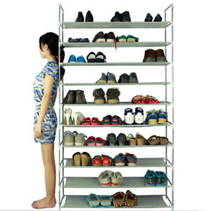 50-Pair-10-Tier-Shoe-Tower-Rack-Organizer-Space-Saving-Shoe-Rack-Stainless-Steel