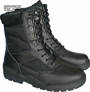 Black-Leather-Army-Patrol-Combat-Boots-Tactical-Cadet-Security-Military-901