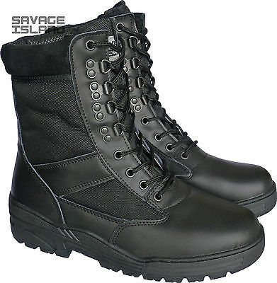 Black Leather Army Patrol Combat Boots Tactical Cadet Security Military