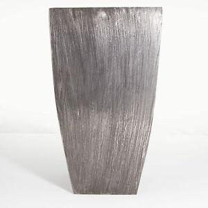Dekovase-Blumenvase-Gross-Aluminium-38cm-hoch-Rosemarie-Schulz