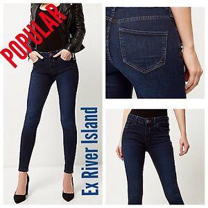 44b170646d3ae Details about ex-River Island Dark Wash Blue Amelie Super Skinny Jeans RRP  £40.00