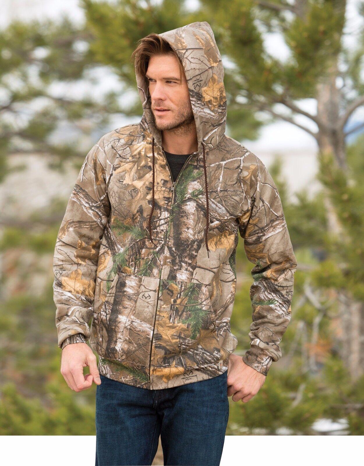 Real Tree Full Zip Camoflauge Hoodie Hunting Outdoor Gun Military M - 3XL
