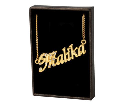 Name Necklace Malika 18K Gold PlatedWedding Unique Personalised Birthday