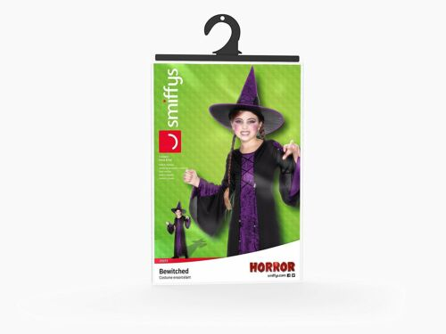 M, Dress /& Hat Colour: Black and Purple Smiffy/'s Children/'s Bewitched Costume