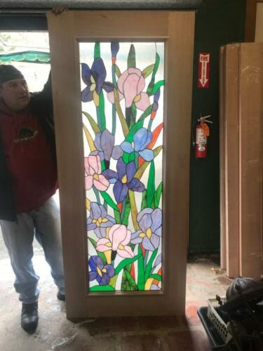 JHL2167-99 BEAUTIFUL HAND MADE STAINED GLASS FLORAL ENTRY DOOR INTERIOR OR EX