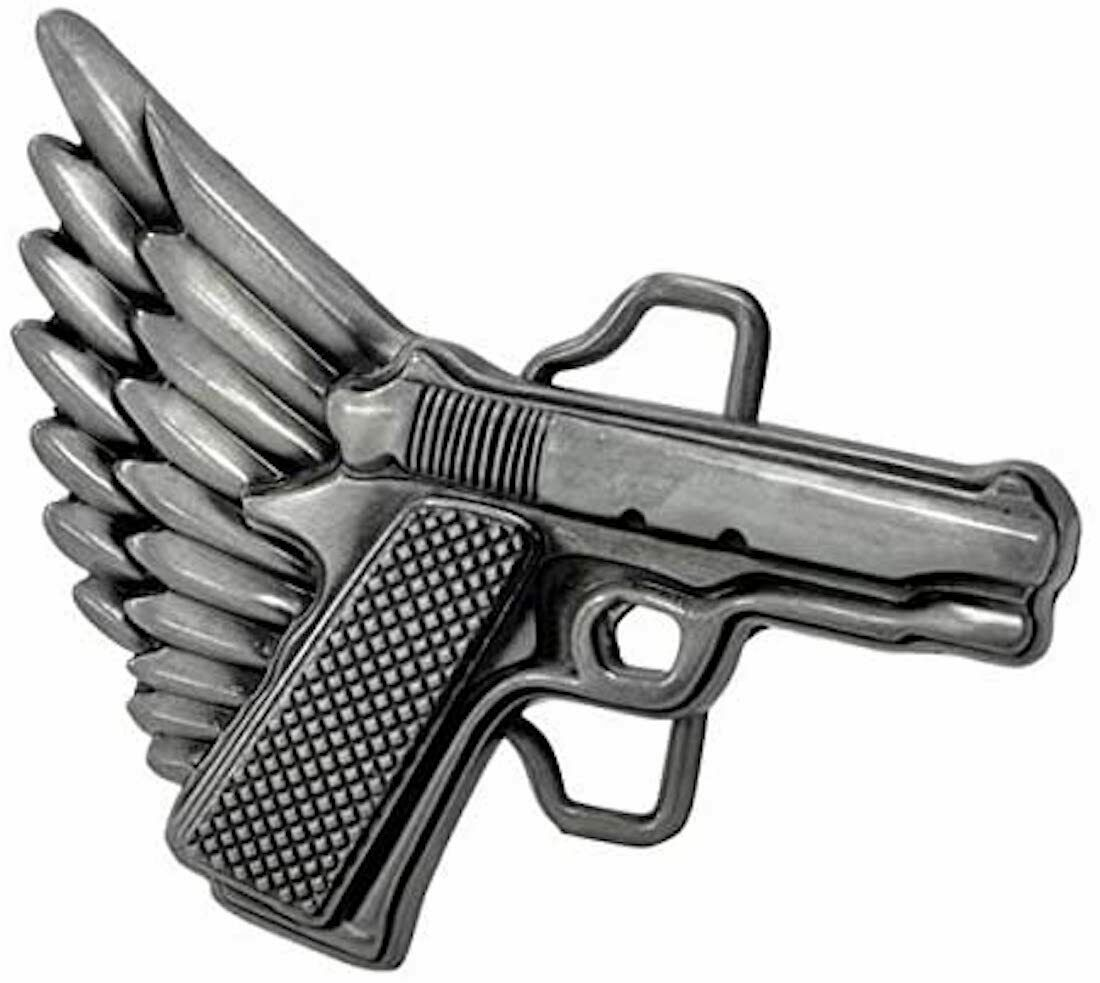 Gun Wings Motorcycle Belt Buckle biker tattoo trucker country 2nd amendment