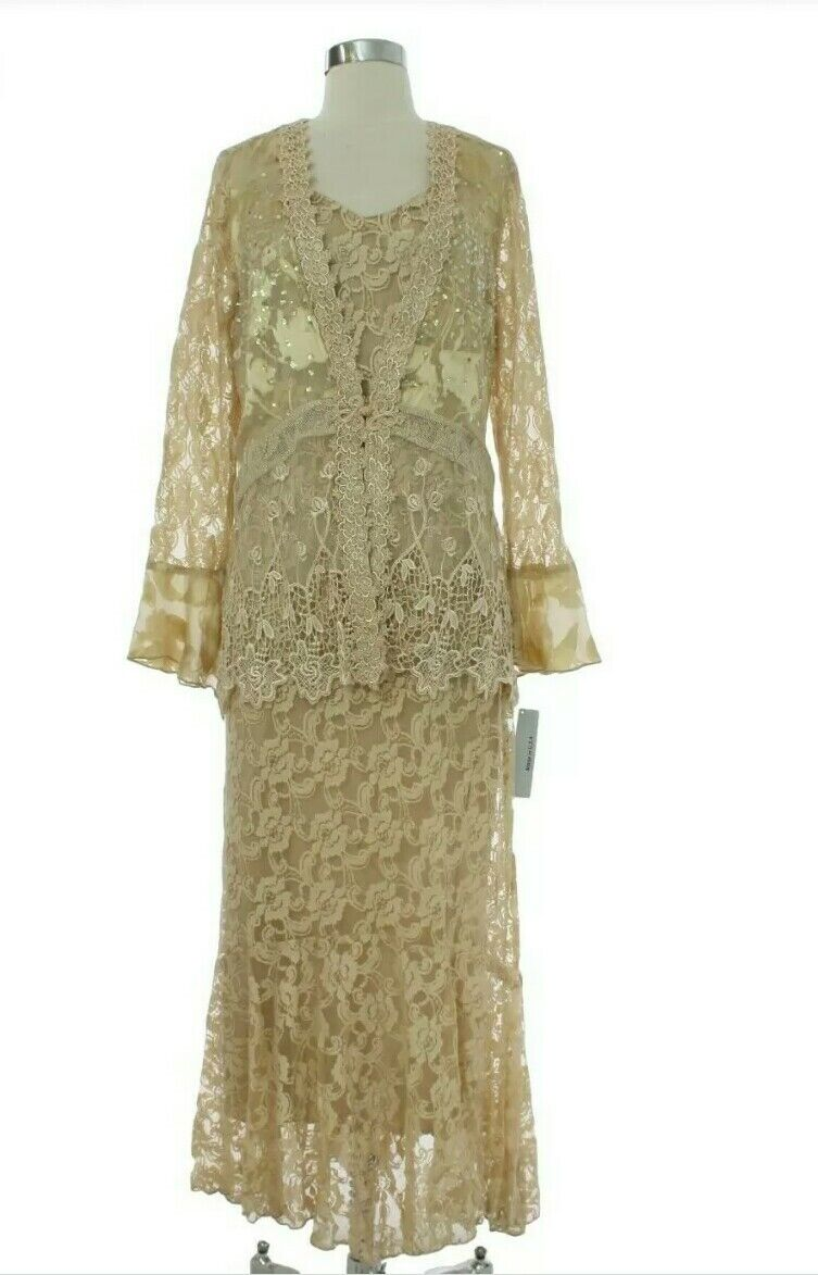 Spencer Alexis 12 Formal Wear Beaded Lace 2-pc Dress Jacket Set Champagne Gold