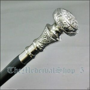 Vintage-Antique-Walking-Cane-Wooden-Walking-Stick-Silver-Brass-Handle-Knob-Gift