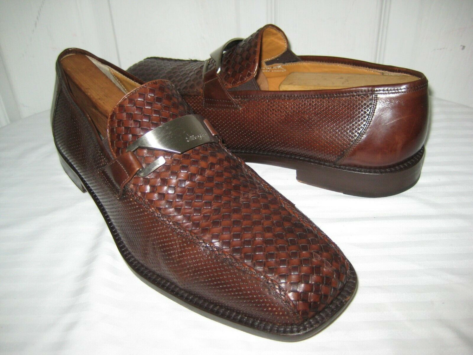 Mezlan Brown Leather Hand Made Woven Loafer shoes Men's Size 11 M.