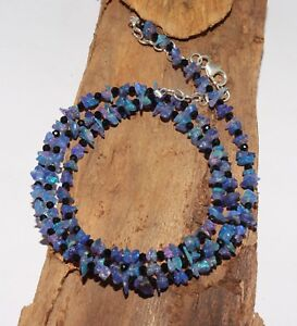 925-Silver-29-TCW-19-034-Spinal-amp-Natural-Ethiopian-Opal-chip-blue-Bead-Necklace