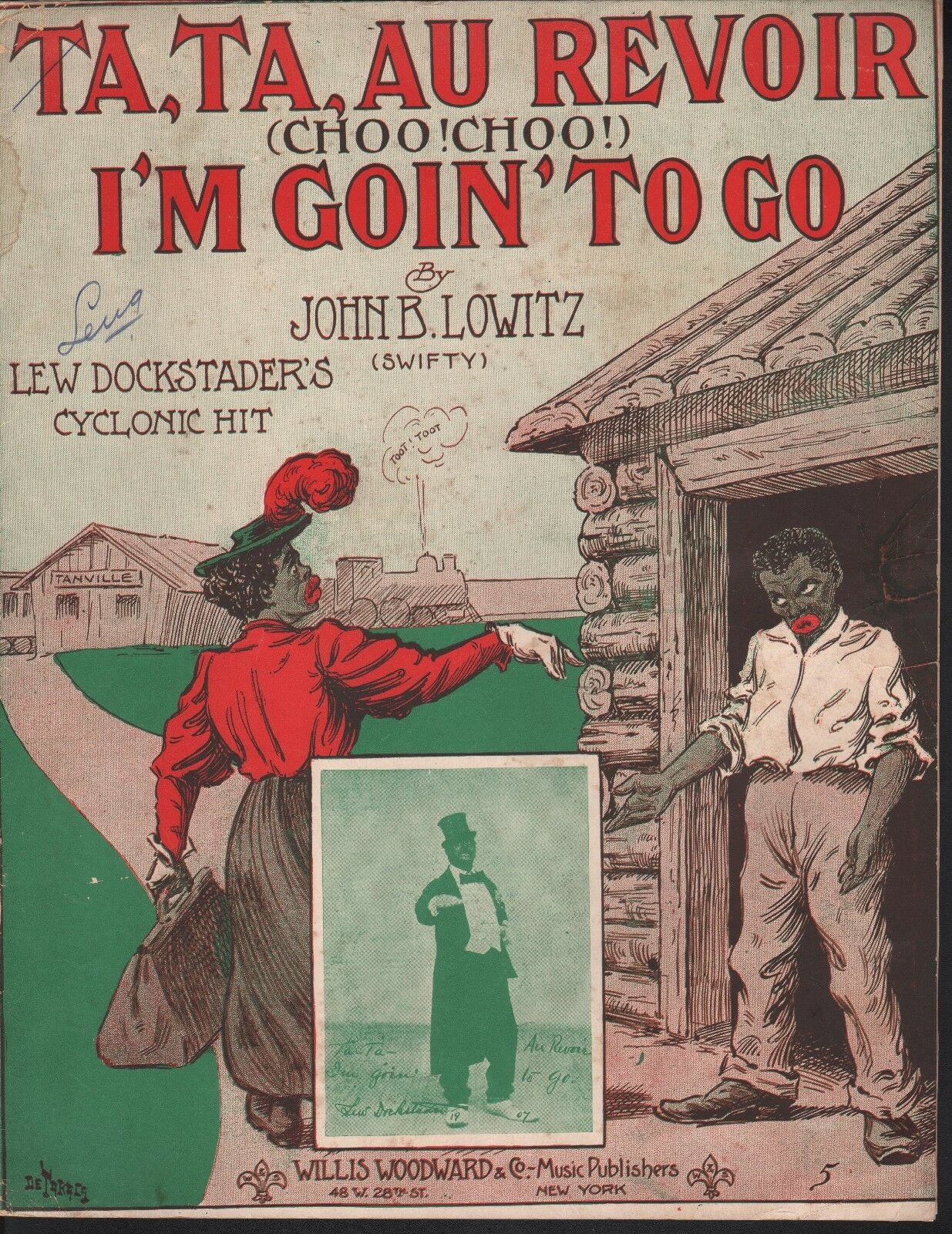 Ta Ta Au Revoir I'm Goin To Go 1907 Large Format Sheet Music