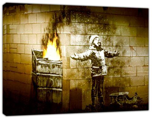 Banksy Port Talbot Seasons Greetings Art Reprint on Framed Canvas Wall Art decor