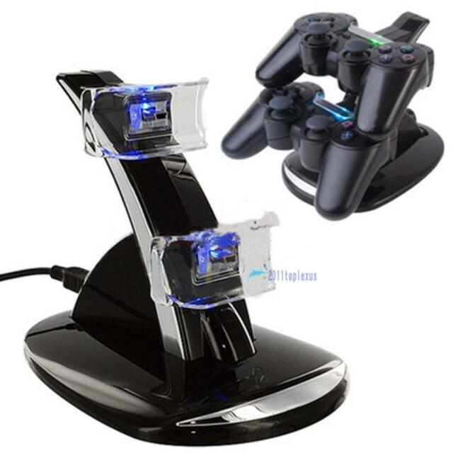 LED Dual Controller Charger Dock Station Stand Charging for Playstation PS3 MTC