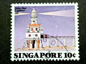 Singapore-1982-Sultan-Shoal-Lighthouse-10c-1v-Used