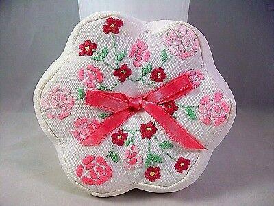 Vintage Handmade Embroidered Pink Flower Pincushion