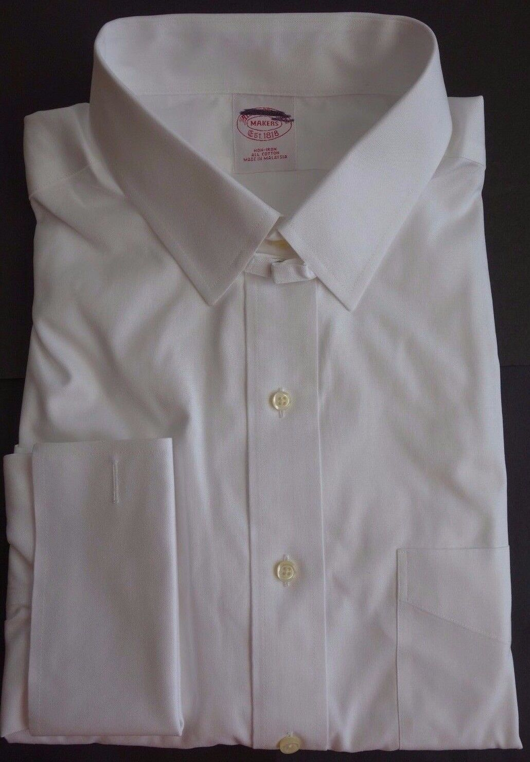 NWT Brooks Bredhers Non Iron White Point Collar Shirt 16.5-33 MSRP