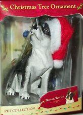 Xmas Tree Pet Dog Holiday Ornament Boston Terrier Santa Hat stocking stuffer