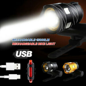 USB-Rechargeable-15000LM-XML-T6-LED-Bicycle-Light-Bike-Front-Headlight-Rear-Lamp