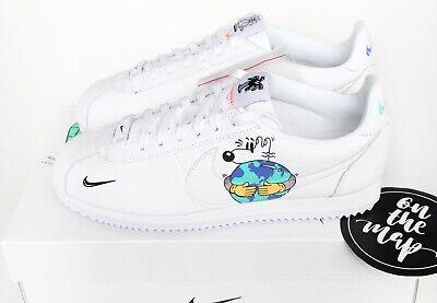 Nike Cortez flyleather QS Earth Day 2019 BIANCO UK 5 6 7 8 9 10 11 12 nuovi Stati Uniti | eBay