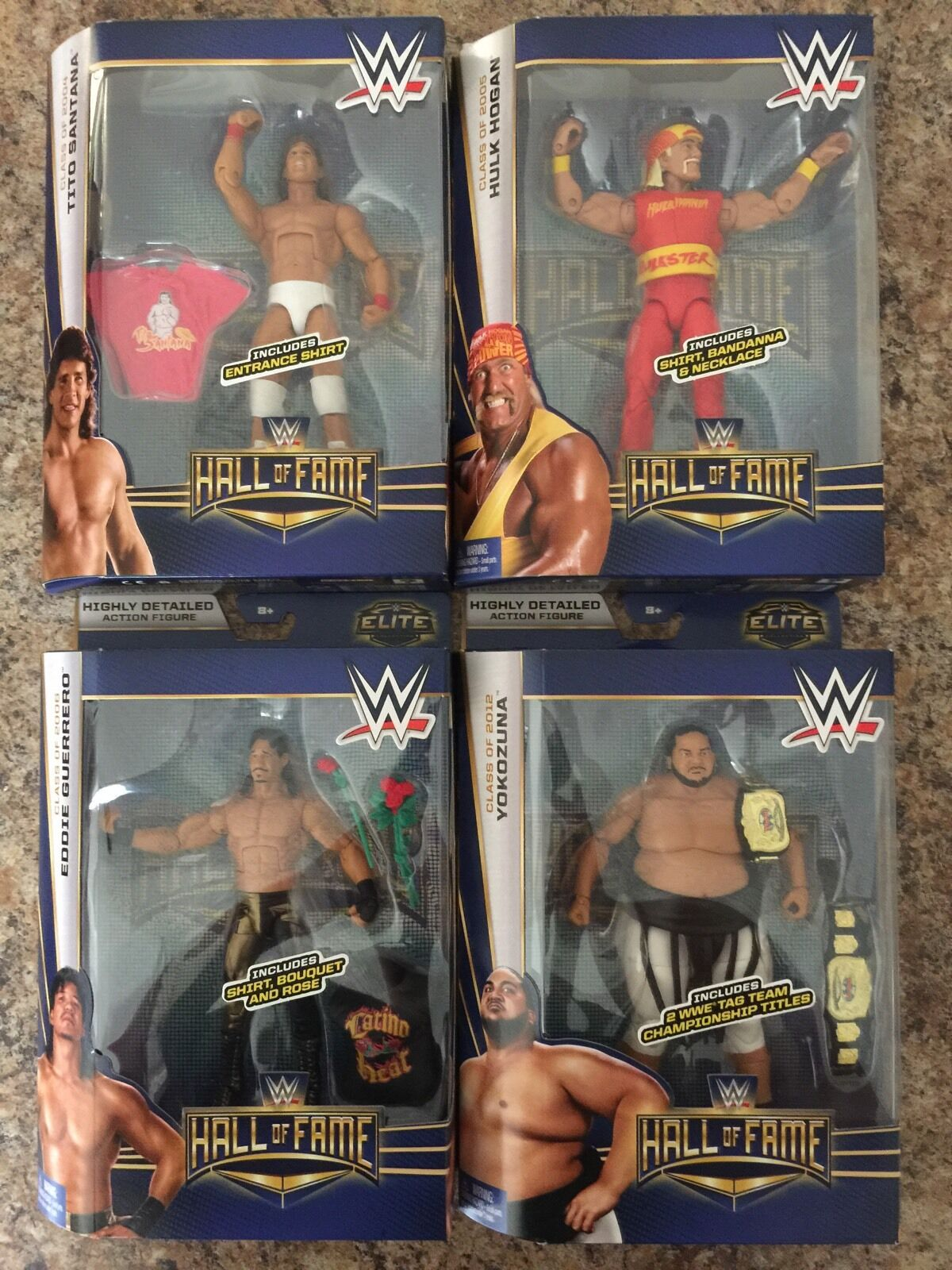 LOT 4 WWE ELITE HALL OF FAME SERIES 2 YOKOZUNA,HULK HOGAN,EDDIE GUERRERO.IN HAND