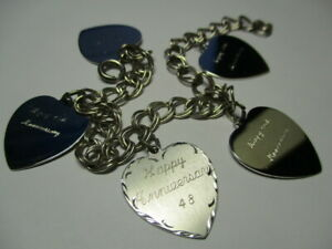 STERLING-SILVER-925-ESTATE-DOUBLE-CURB-ENGRAVED-HEARTS-CHARM-7-5-INCH-BRACELET