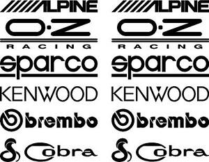 Image is loading 12-Matt-Black-Car-Door-Stack-Sponsor-Logo-  sc 1 st  eBay & 12 Matt Black Car Door Stack Sponsor Logo StickersGraphicsDecals ...