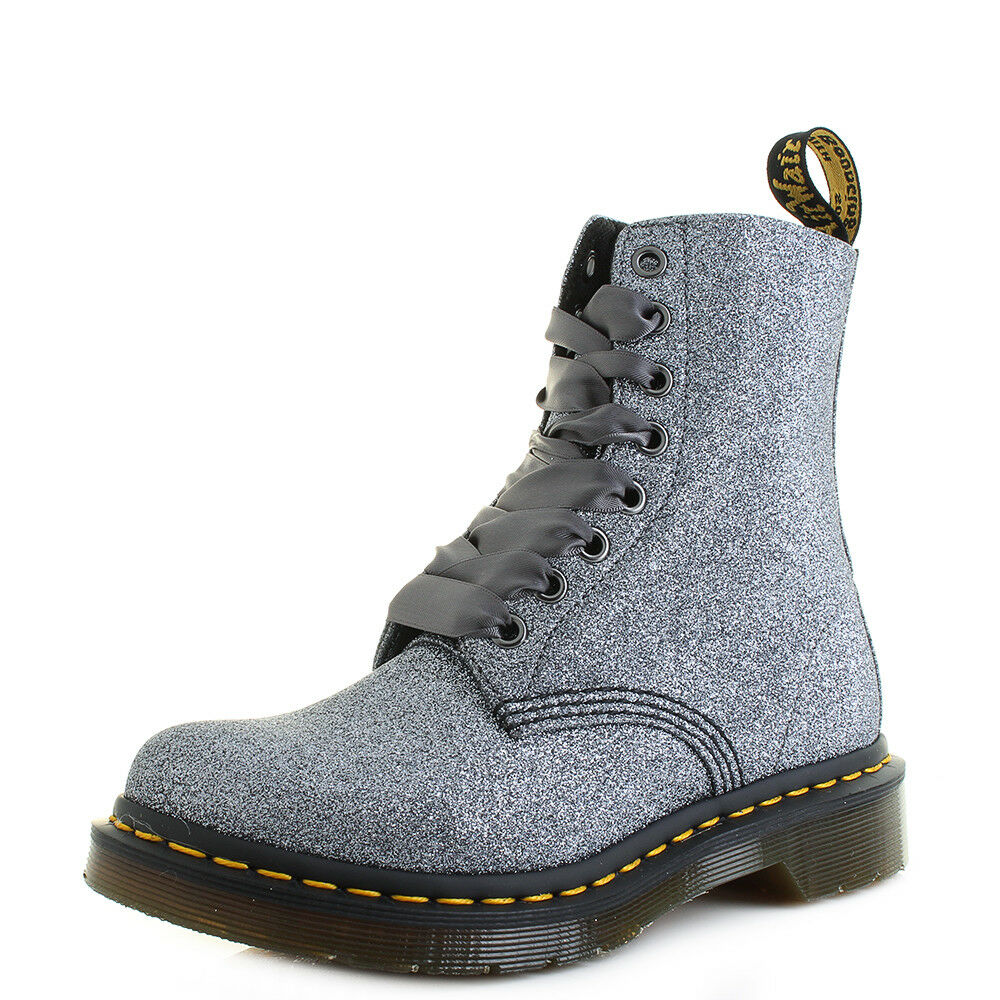 Womens Dr Martens 1460 Pascal Glitter Pewter Boots Grey Ankle Boots Pewter UK Size c08906