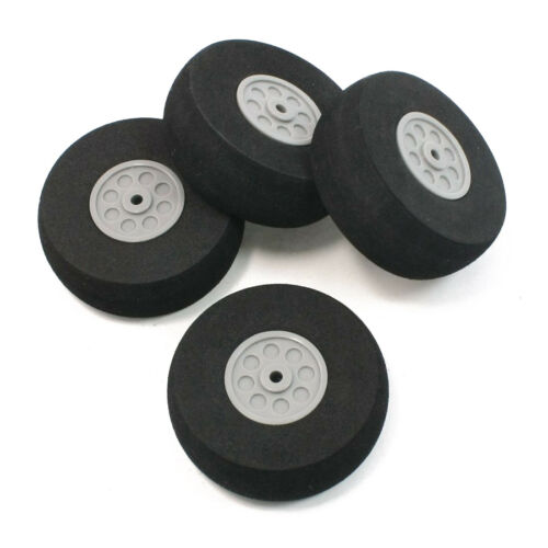 4 Pcs Gray Plastic Hub Black Foam Wheel 55mm Dia for RC Aircraft Model Toy D8T5
