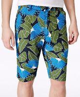 American Rag Men's Tropical-print Flat-front Shorts, Black/blue/green