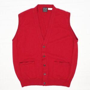 TSE-Mens-Cashmere-Sweater-Vest-M-Solid-Dark-Red-Button-Front-V-Neck-Soft-Knit