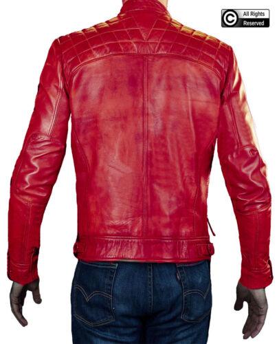 Da Uomo Rosso Cafe Racer Moto Vintage Stile Biker Giacca in Vera Pelle Nuovo