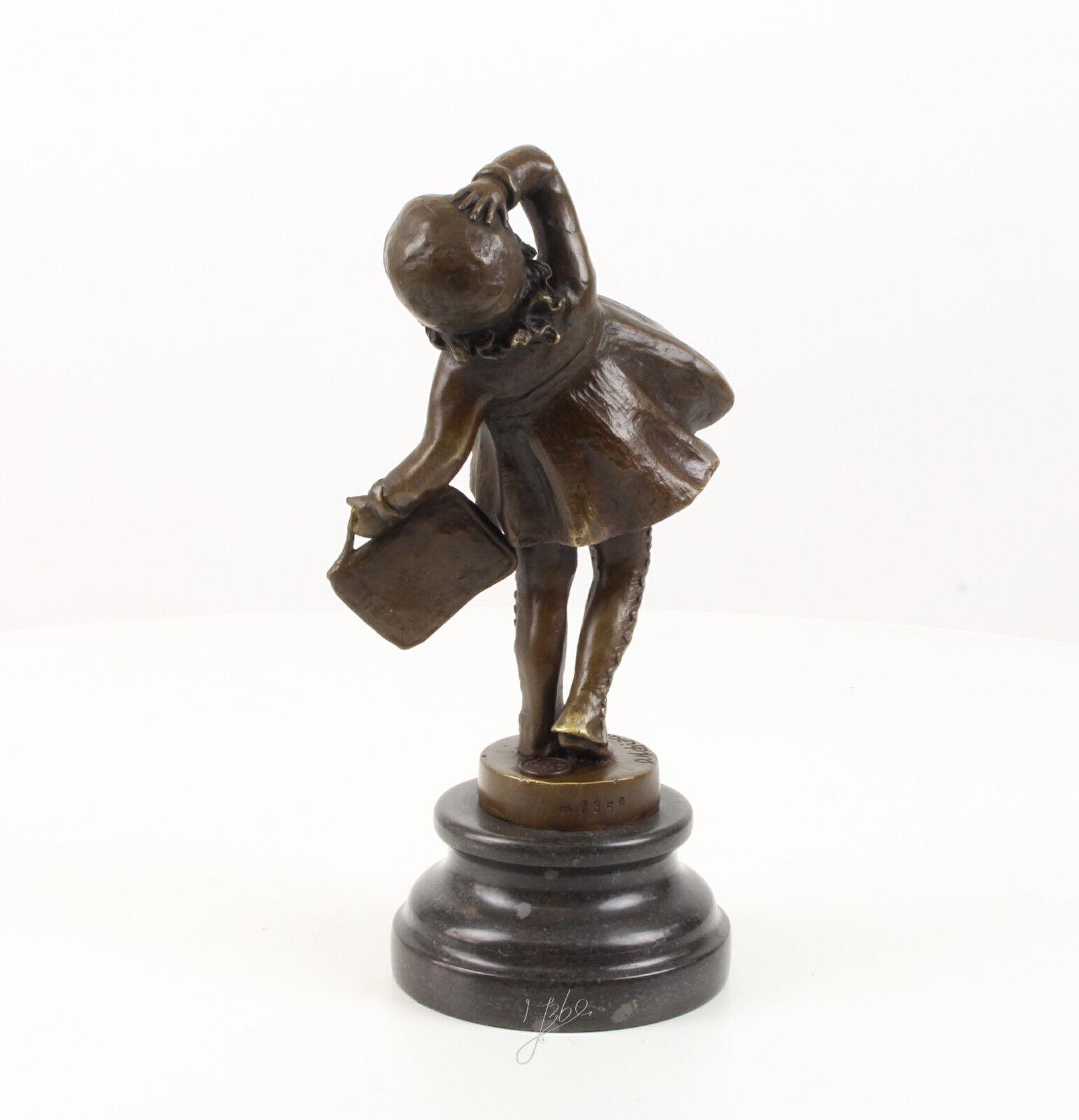 9937102-dss bronze sculpture personnage personnage sculpture scolaire fille 25x10x12cm d18d0e