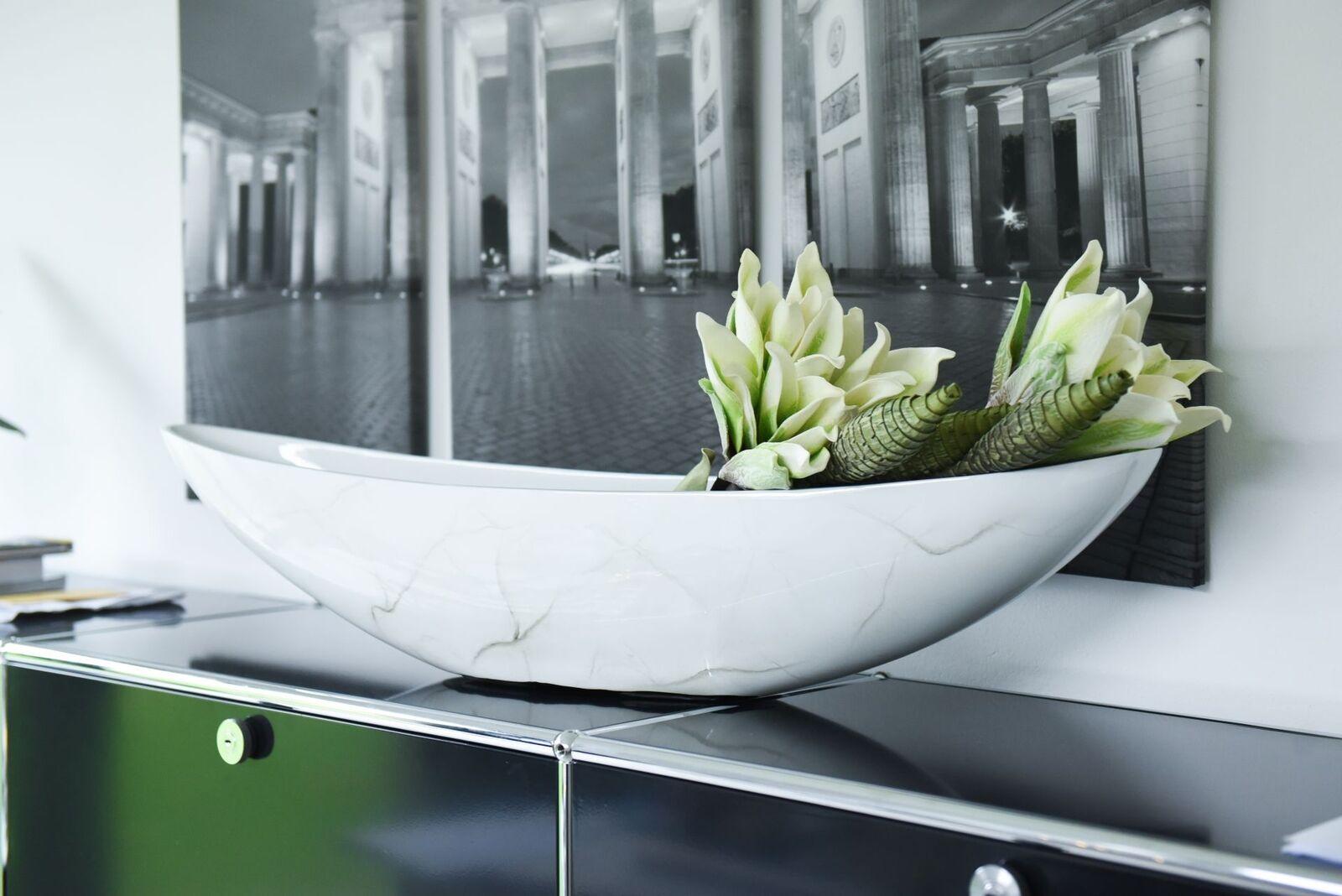 Dekoschale Schale exklusiv  Alexa  20x90x18 cm Weiß Marmor Hochglanz