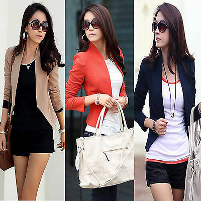 Korean Fashion Womens Slim Career Casual Short Jacket Blazer Suit Outerwear Coat