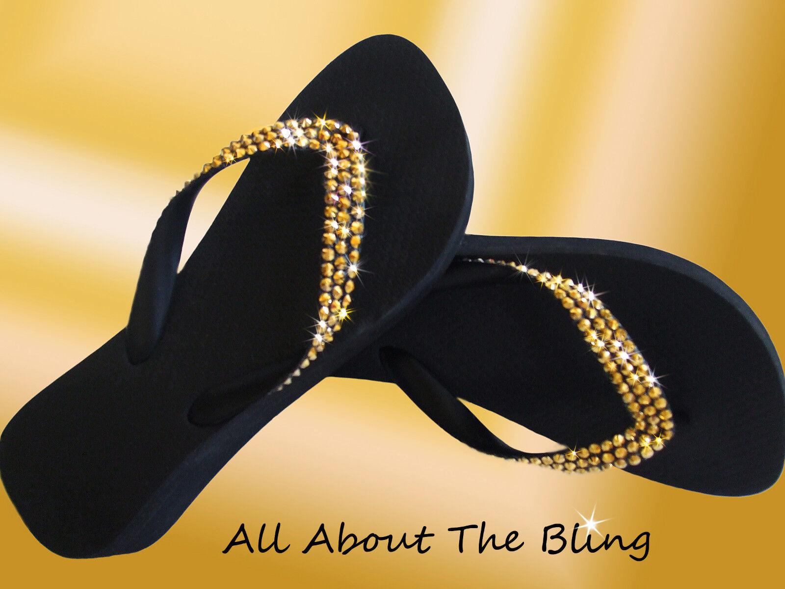 Havaianas flip flip flip flops sandal using SWAROVSKI oro CRYSTALS rhinestones 35695d