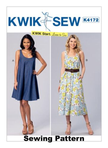 Kwik Sew K4172 Kwik Start Learn to Sew Pattern Misses Dresses Sizes XS-XL BN