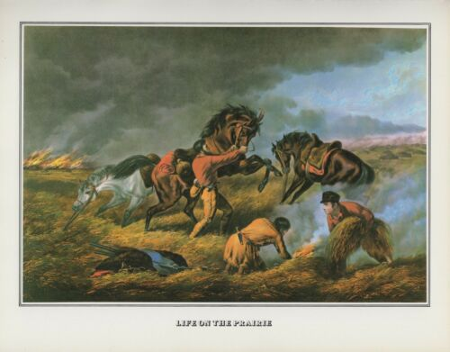 "1978 Vintage /""TRAPPERS DEFENSE FIRE FIGHT FIRE/"" CURRIER /& IVES COLOR Lithograph"