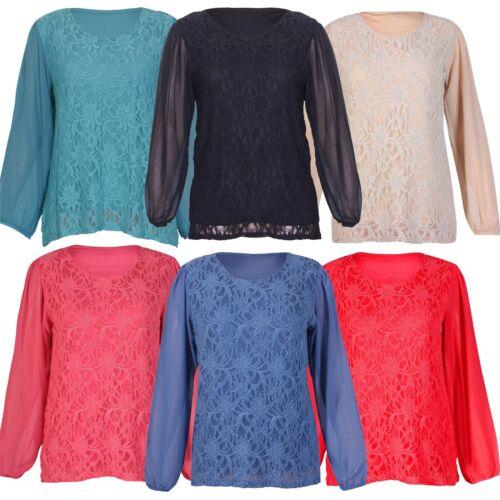 Neue Dame-Chiffon Sheer Long Sleeve Lace Tunika-Bluse