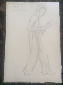 Signed-1936-Lillian-Mingay-Pencil-Drawing-Semi-Naked-Male-Figure-Boxer-Boxing-28