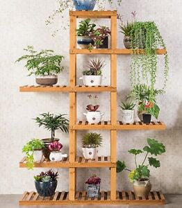 bamboo wooden plant stand indoor outdoor garden planter flower pot stand shelf ebay. Black Bedroom Furniture Sets. Home Design Ideas