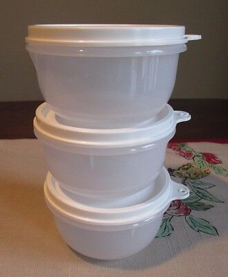Tupperware NEW LOT 3 Ideal Little Lil bowl WHITE 8oz 250 ML H seal KIDS Snack