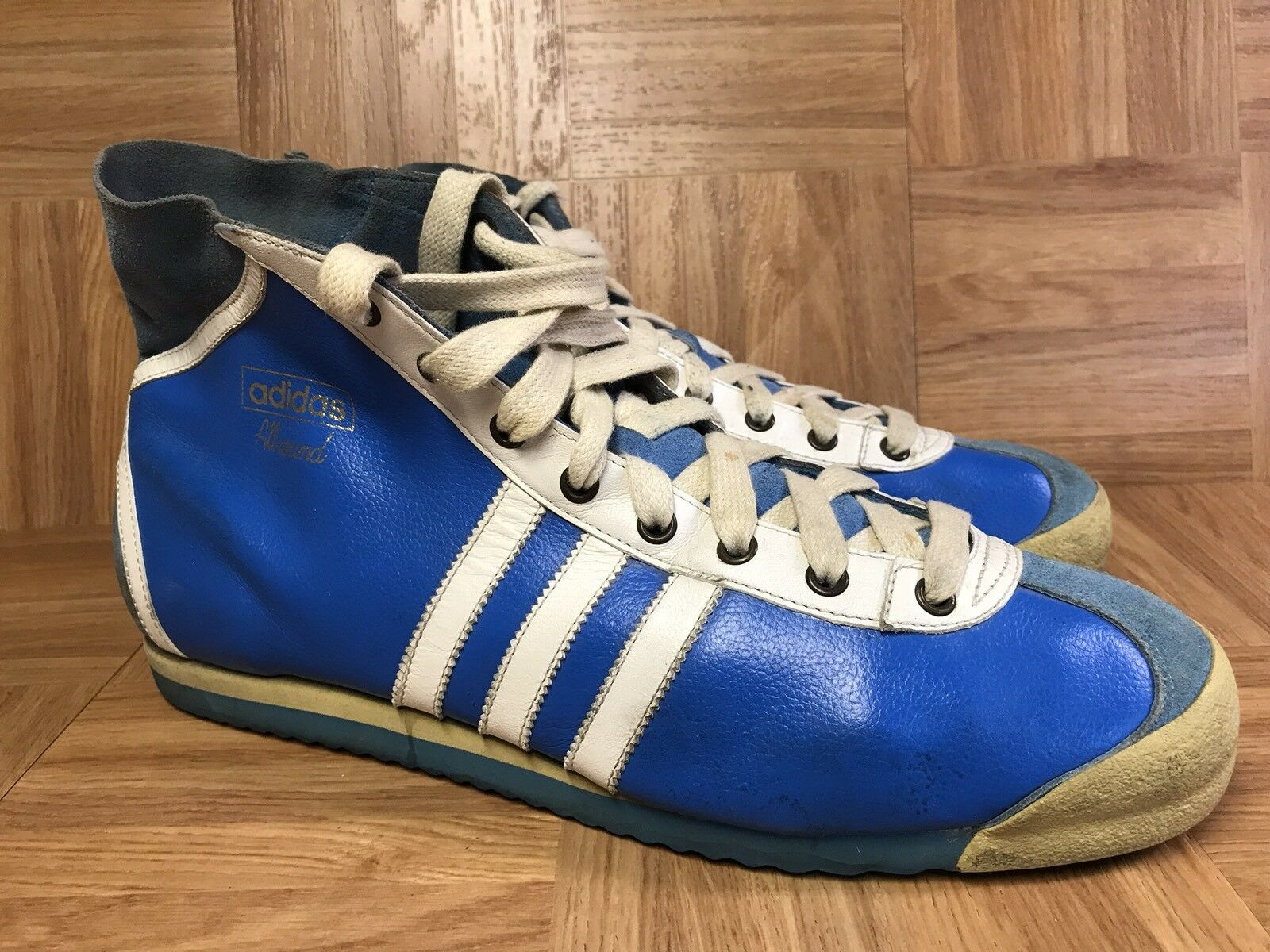 VNTG� Adidas All Round 5 V Vintage Royal Stripped Athletic 13 High Top Boots Sz 13 Athletic 981dd1