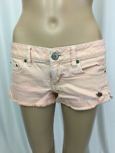 Womens-Shorts-American-Eagle-Mini-Jean-Peach-Colored-Wash-Distressed-Stretch-4