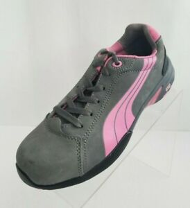 Puma-Safety-Balance-Low-Steel-Toe-Work-Womens-Pink-Gray-Lace-Up-Shoes-Size-7-5