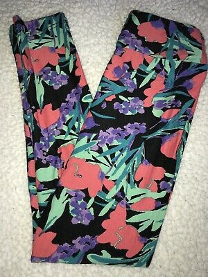 LuLaRoe Kids Leggings L//XL Large XLarge Black Blue Pink Arrows With Feathers