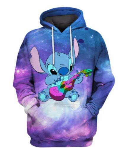 Women Men 3D Print Hoodies Pullover Sweatshirts Cartoon Stitch Casual Big size