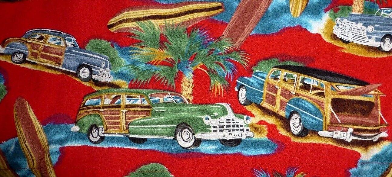 Diamond Head Sportswear Men's Shirt Woody Wagon Car Surf Boards Hawaiian XL