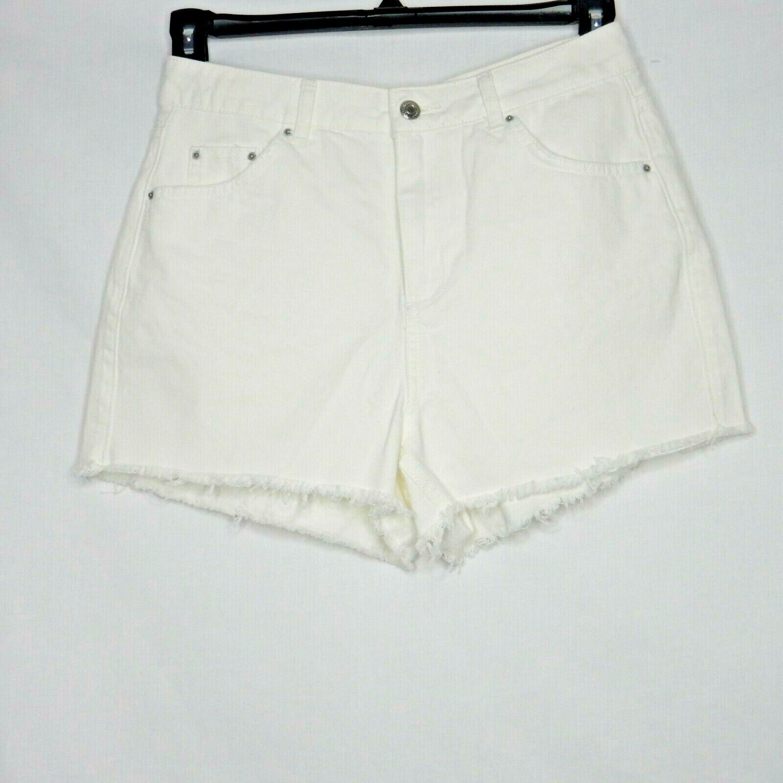 TopShop MOTO MOM Denim Cut-off Shorts White Size 14 USA 10 NEW