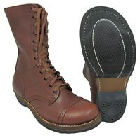 US Army PARATROOPER LEATHER BOOTS - All Sizes WW2 Repro Brown Combat Jump Shoes